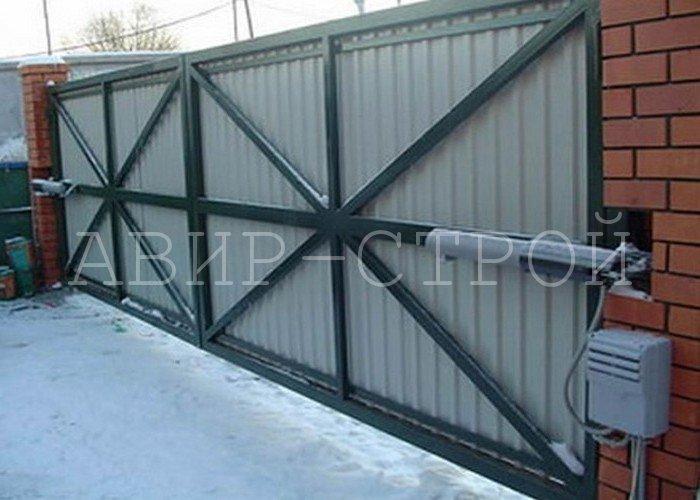 Распашные ворота 5000 на 2200 с односторонней обшивкой и автоматикой
